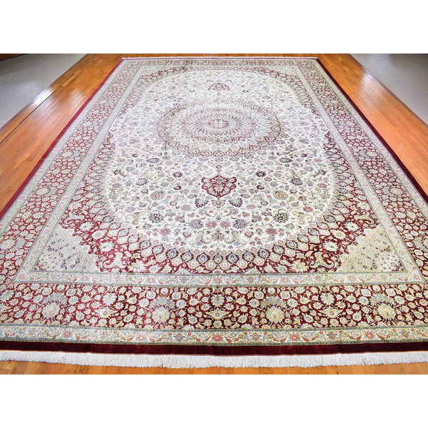 "Shrugs Persian 14'7""x21'4"" Oversized New Persian Qum Signed by Master Weaver Amin 600 KPS Ivory and Cinnamon Red Pure Silk Hand Knotted Oriental Rug"