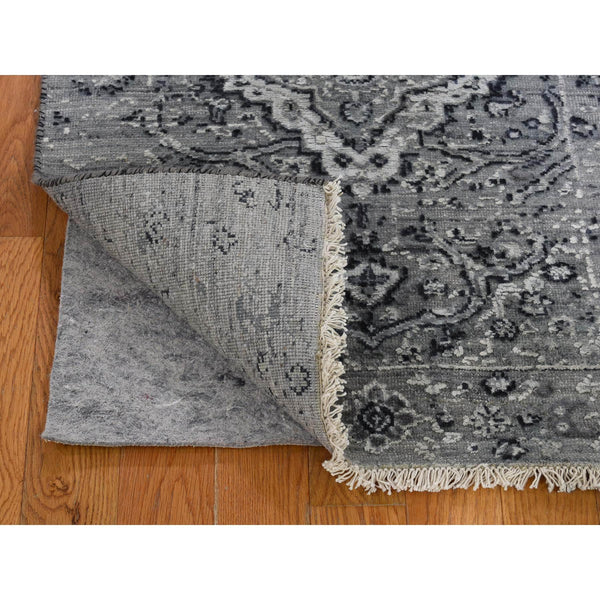 "Shrugs Transitional 2'1""x3'1"" Gray Broken Persian Erased Design Silk With Textured Wool Hand-Knotted Oriental Rug"