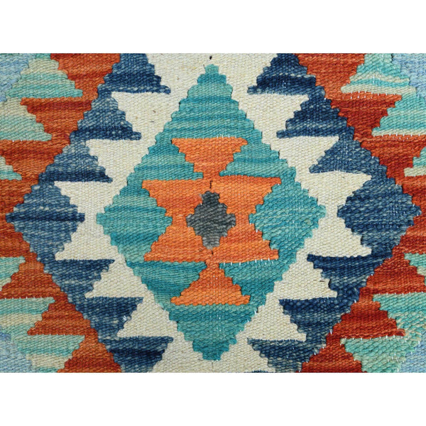 "Shrugs Flat Weave 2'1""x3' Light Green Tribal Design Afghan Kilim Reversible Pure Wool Hand Woven Oriental Rug"