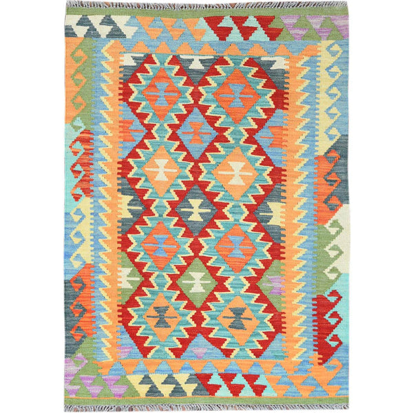 "Shrugs Flat Weave 2'10""x4'2"" Colorful Geometric Design Afghan Kilim Reversible Luxurious Wool Hand Woven Oriental Rug"
