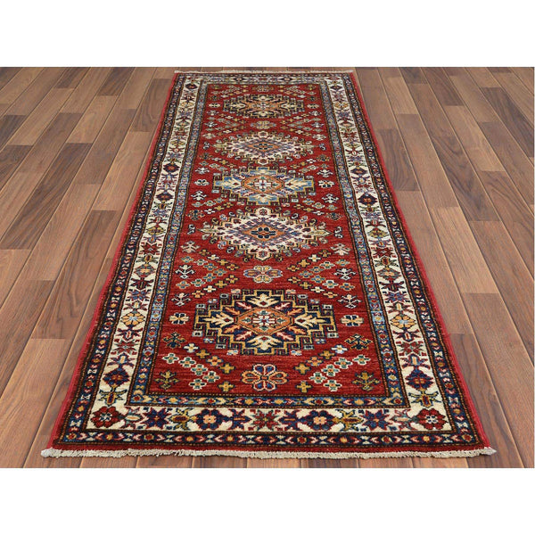 "Shrugs Kazak 2'4""x6'6"" Red Super Kazak With Geometric Design Pure Wool Hand Knotted Oriental Runner Rug"