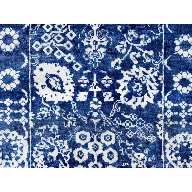 "Shrugs Transitional 2'5""x8'2"" Blue Wool and Silk Tone On Tone Tabriz Runner Hand Knotted Oriental Rug"
