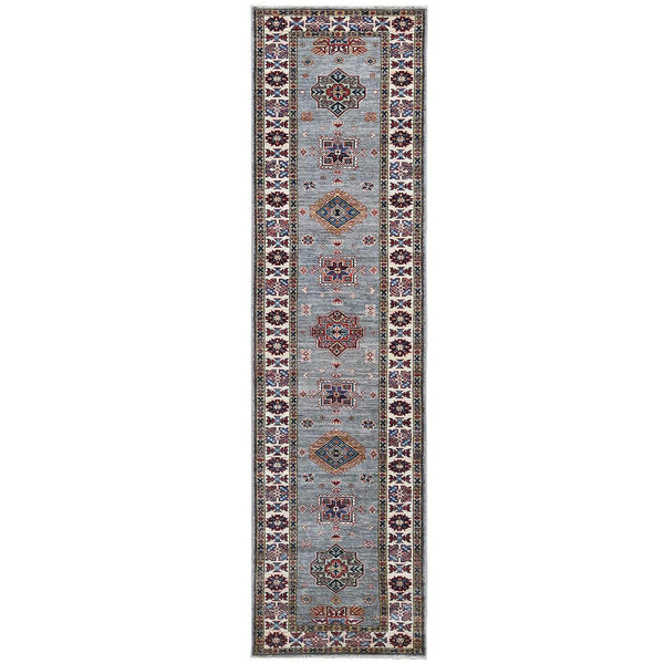"Shrugs Kazak 2'5""x9'7"" Gray Super Kazak Geometric Design Pliable Wool Hand Knotted Oriental Runner Rug"