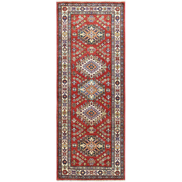 "Shrugs Kazak 2'6""x6'6"" Red Super Kazak With Tribal Design Soft Velvety Wool Hand Knotted Oriental Runner Rug"