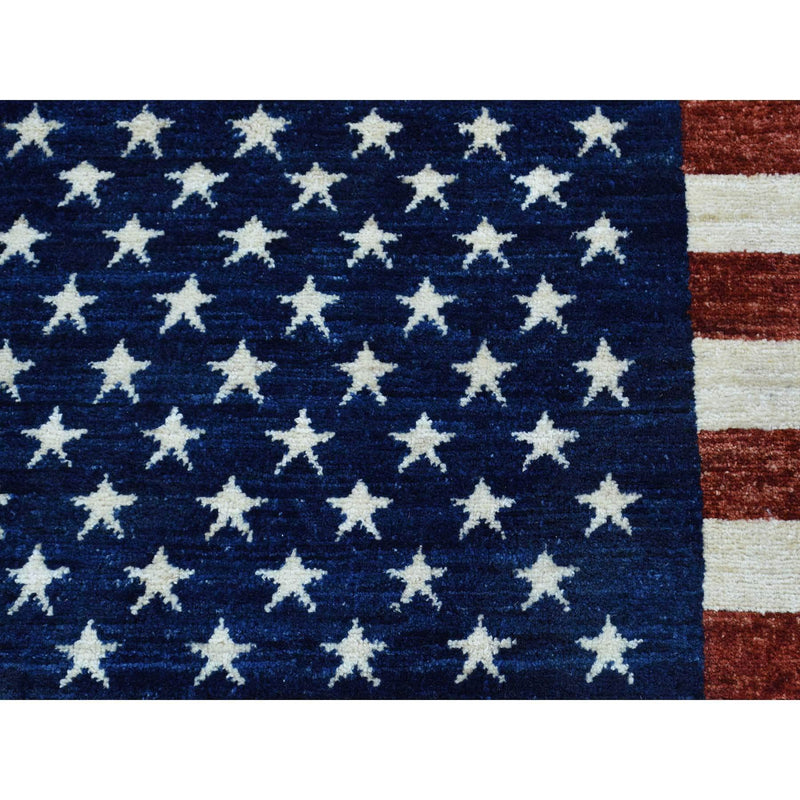 "Shrugs Oushak And Peshawar 2'7""x3'10"" Hand-Knotted Pure Wool Peshawar American Flag Wall Hanging Rug"