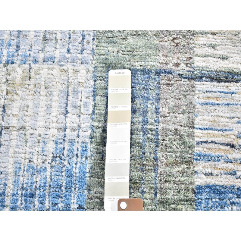 "Shrugs Modern and Contemporary 2'7""x6' THE INTERTWINED PASSAGE, Silk with Textured Wool Hand Knotted Runner Oriental Rug"