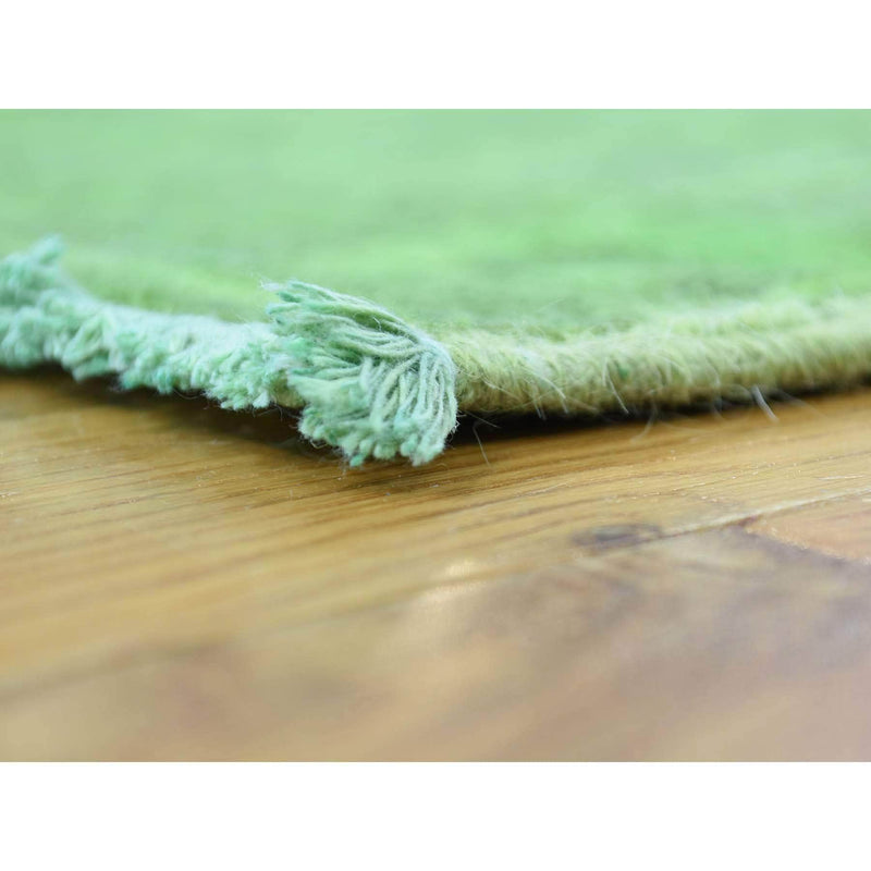 "Shrugs Overdyed & Vintage 2'7""x8'3"" Hand Knotted Green Cast Peshawar Overdyed Pure Wool Runner Rug"