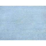 "Shrugs Overdyed & Vintage 2'7""x9'10"" Hand-Knotted Silver Wash Peshawar Pure Wool Runner Rug"