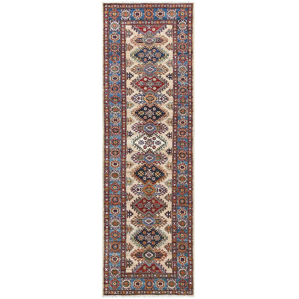 "Shrugs Kazak 2'7""x9' Ivory Super Kazak In A Colorful Palette With Tribal Design Organic Wool Hand Knotted Oriental Runner Rug"