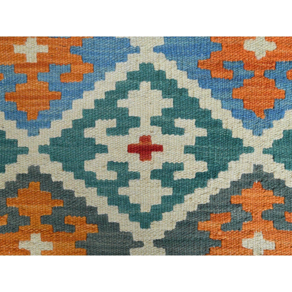 "Shrugs Flat Weave 2'8""x4' Colorful Tribal Design Afghan Kilim Reversible Pure Wool Hand Woven Oriental Rug"