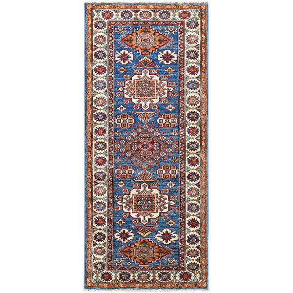 "Shrugs Kazak 2'8""x6'3"" Blue Super Kazak In A Colorful Palette With Nomadic Design Organic Wool Hand Knotted Oriental Runner Rug"