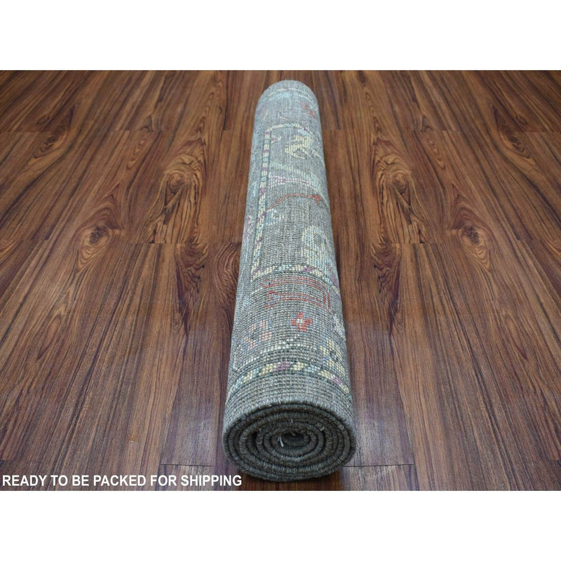 "Shrugs Oushak And Peshawar 2'9""x7'10"" Distressed Taupe Angora Oushak Natural Wool Hand Knotted Runner Oriental Rug"