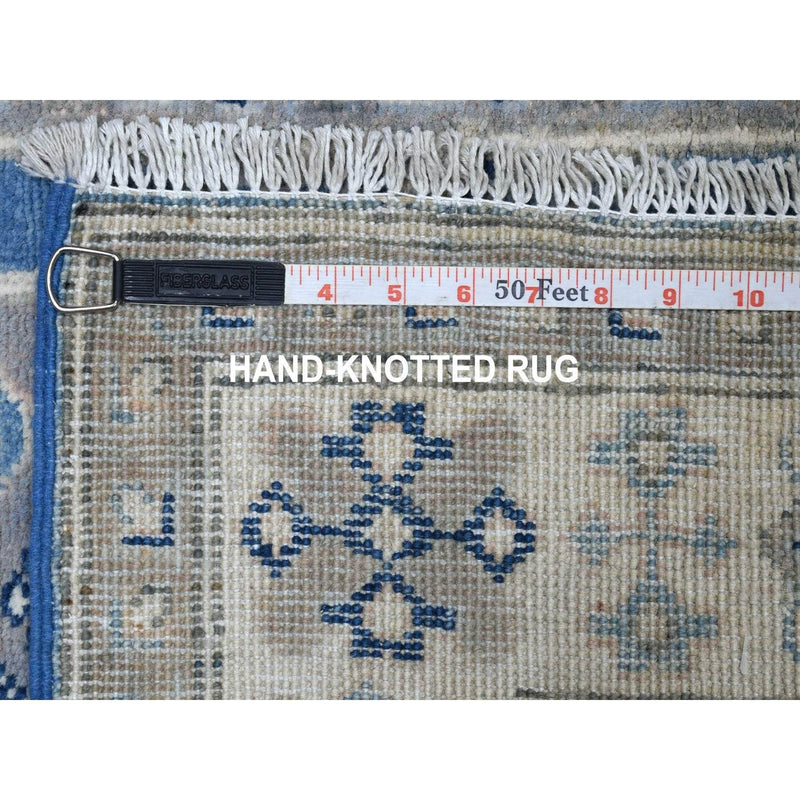 "Shrugs Kazak 2'9""x9'10"" Blue Vintage Look Kazak Organic Wool Tribal Design Hand Knotted Runner Oriental Rug"