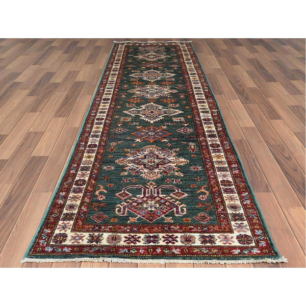 "Shrugs Kazak 2'9""x9'8"" Green Super Kazak With Tribal Design Luxurious Wool Hand Knotted Oriental Runner Rug"