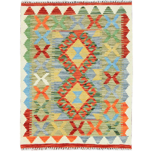 "Shrugs Flat Weave 2'x2'9"" Hand Woven Green With Vibrant Colors Geometric Design Pure Wool Reversible Flat Weave Afghan Kilim Oriental Rug"