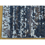 Shrugs Modern and Contemporary 2'x2' Hand-Knotted Wool and Silk Abstract Square Hi and Low Pile Rug