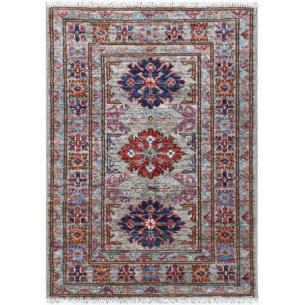 "Shrugs Kazak 2'x3'1"" Gray Super Kazak With Geometric Design Natural Wool Hand Knotted Oriental Rug"