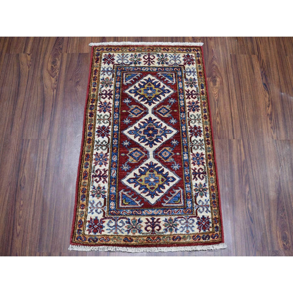 "Shrugs Kazak 2'x3'1"" Red Super Kazak Geometric Design Pure Wool Hand-Knotted Oriental Rug"