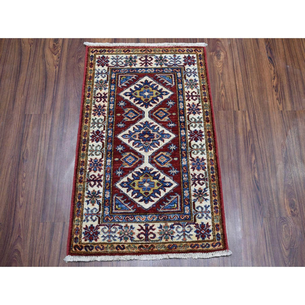Shrugs Kazak 2'x3' Red Super Kazak Pure Wool Geometric Design Hand-Knotted Oriental Rug
