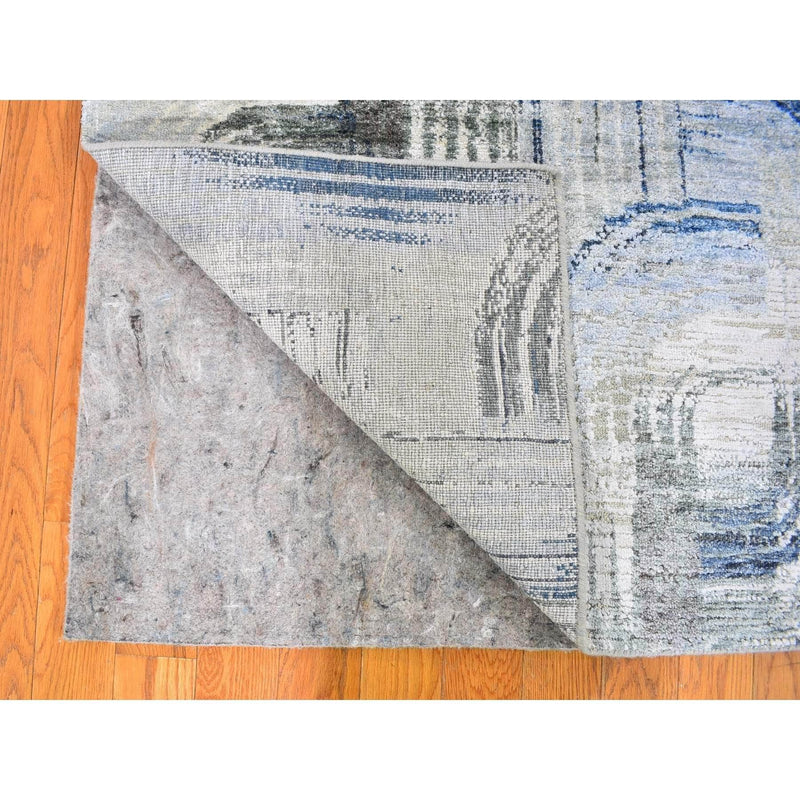 Shrugs Modern and Contemporary 2'x3' THE INTERTWINED PASSAGE, Silk with Textured Wool Hand Knotted Oriental Rug