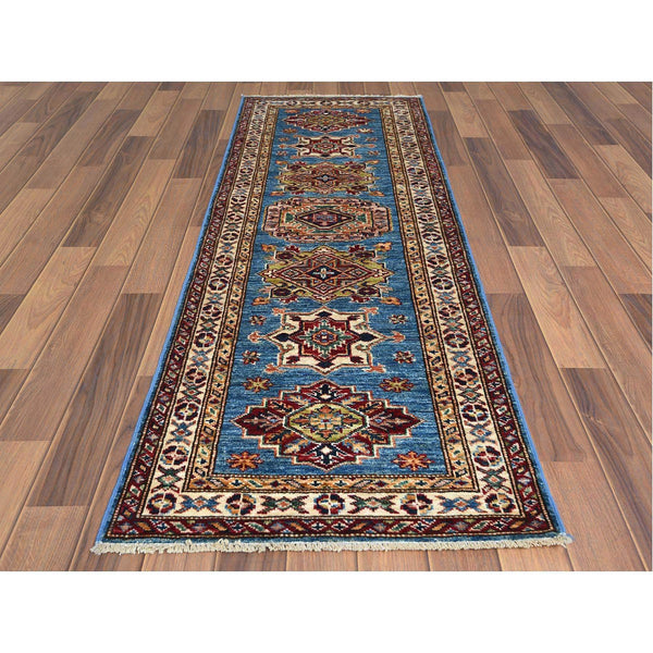 "Shrugs Kazak 2'x5'10"" Super Kazak Denim Blue Tribal & Geometric Design Hand Knotted luxurious Wool Oriental Runner Rug Sh60769"