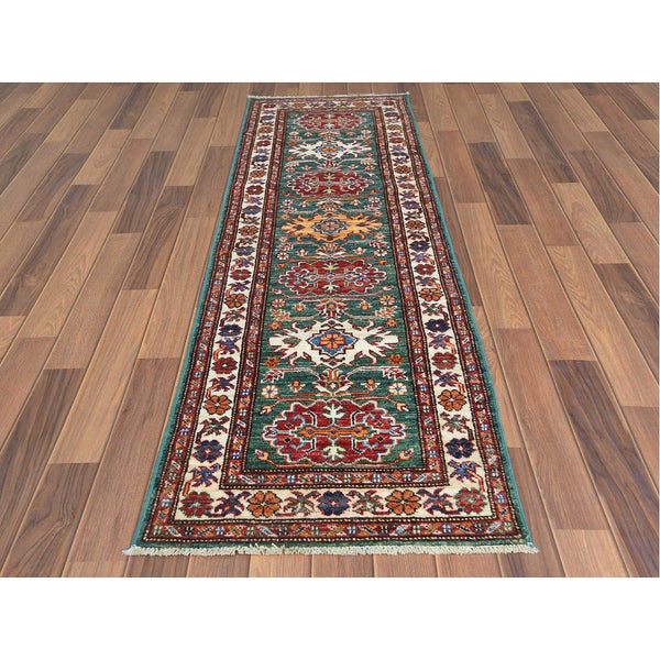 "Shrugs Kazak 2'x6'5"" Green Hand Knotted Primitive Design Super Kazak Pure Afghan Wool Oriental Runner Rug"