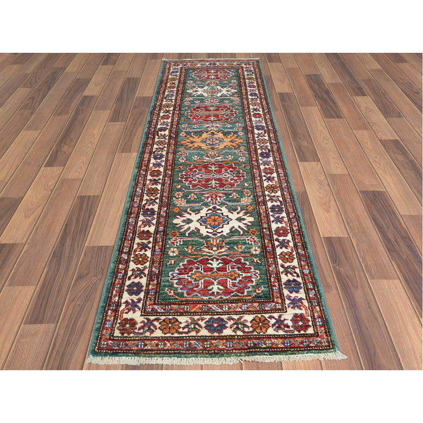 "Shrugs Kazak 2'x6'5"" Hand Knotted Green Geometric Design Super Kazak Vibrant Wool Oriental Runner Rug"