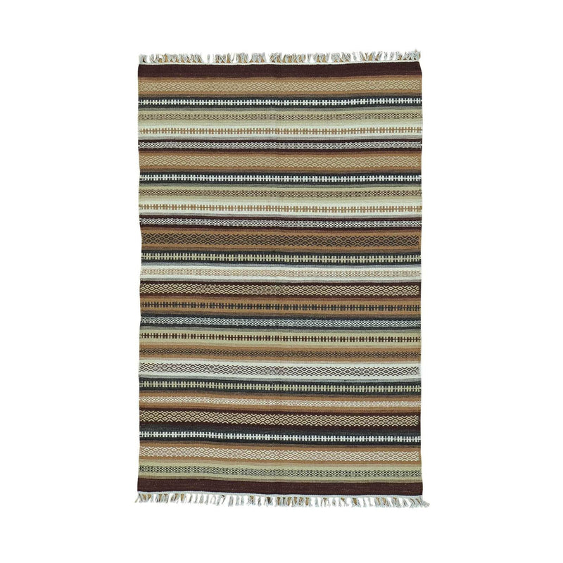 "Shrugs Flat Weave 3'10""x6' Reversible Flat Weave Pure Wool Colorful Durie Kilim Rug"