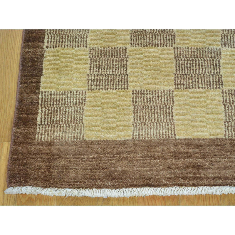 "Shrugs Modern and Contemporary 3'2""x5'4"" Peshawar Gabbeh Hand Knotted Pure Wool Oriental Rug"
