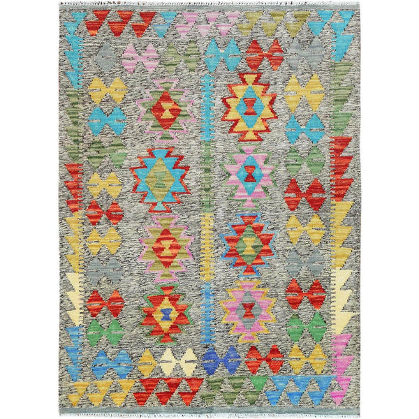 "Shrugs Flat Weave 3'4""x4'8"" Colorful Geometric Design Pure Wool Reversible Flat Weave Afghan Kilim Hand Woven Oriental Rug"