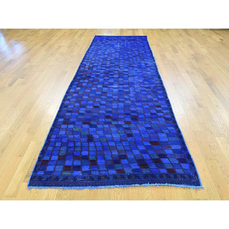 "Shrugs Overdyed & Vintage 3'7""x12'7"" Hand-Knotted Wide Runner Overdyed Persian Gabbeh Oriental Rug"