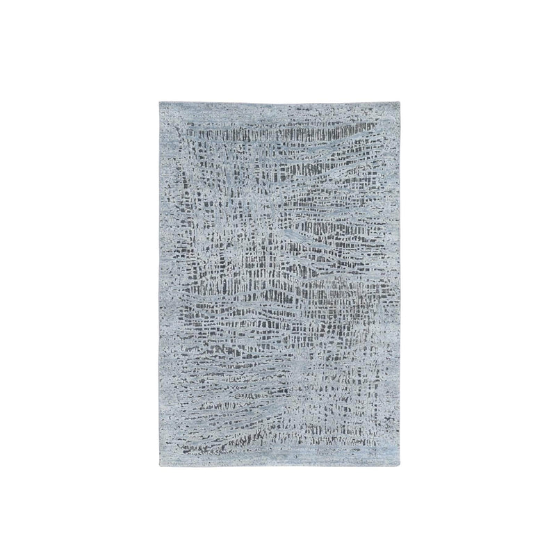 "Shrugs Modern and Contemporary 3'x5'2"" THE LOST BRANCHES, Silk With Textured Wool Hand Knotted Oriental Rug"