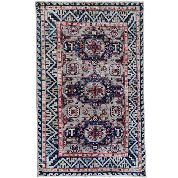 "Shrugs Kazak 4'1""x5'10"" Simple Taupe Armenian Design Kazak Super Dense Weave 100% Wool Hand Knotted Oriental Rug"