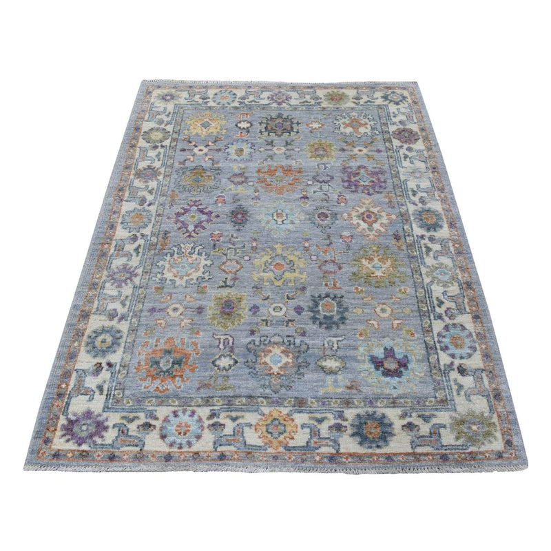 "Shrugs Oushak And Peshawar 4'1""x5'9"" Soft Wool Hand Knotted Gray Angora Oushak with Floral Motifs Oriental Rug"