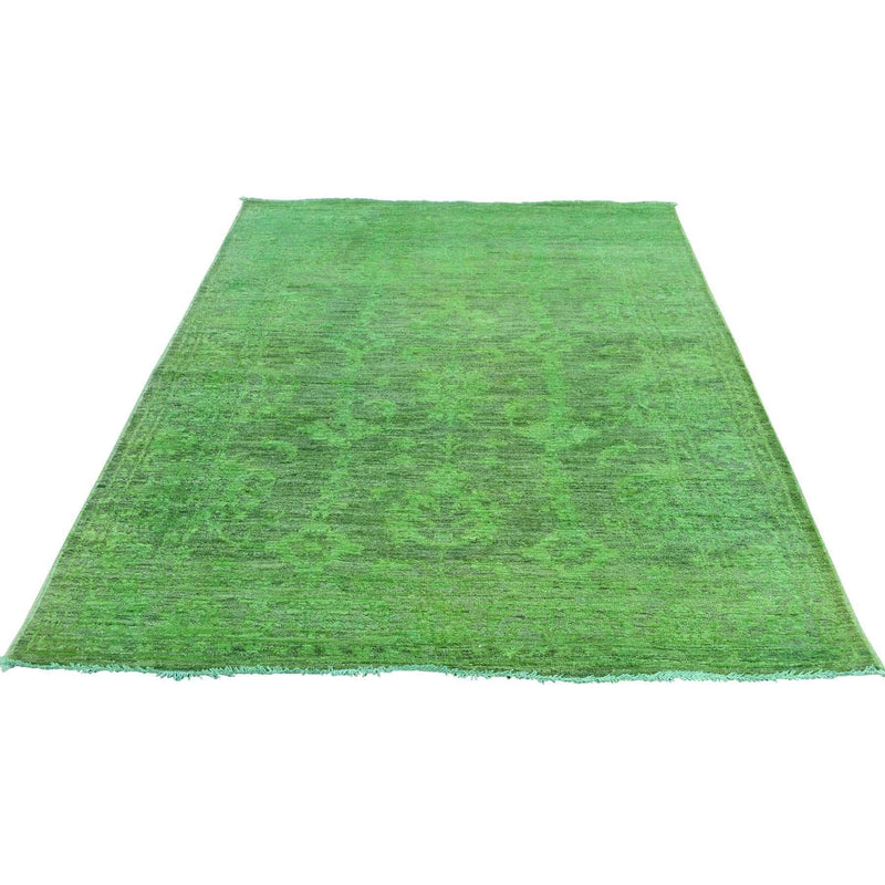 "Shrugs Overdyed & Vintage 4'1""x6'2"" Hand Knotted Green Cast Peshawar Overdyed Pure Wool Rug"
