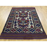 "Shrugs Tribal & Geometric 4'1""x6'3"" Afghan Baluch With Soumak Weave Hand-Knotted Oriental Carpet"