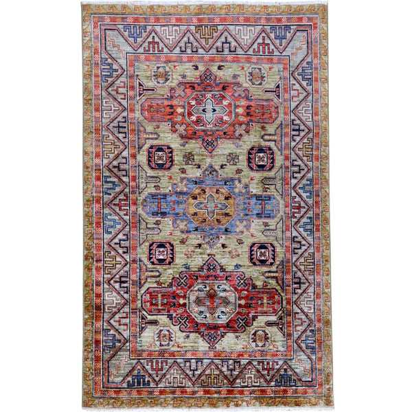 "Shrugs Kazak 4'1""x6' Pear Green Armenian Inspired Kazak Super Dense Weave Pure Wool Hand Knotted Oriental Rug"