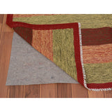 "Shrugs Flat Weave 4'10""x8'1"" Red Afghan Reversible Kilim Pure Wool Hand Woven Striped Oriental Rug"