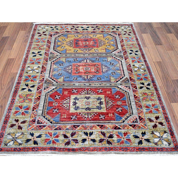 "Shrugs Kazak 4'2""x5'10"" Light Blue Armenian Inspired Kazak Super Dense Weave Pure Wool Hand Knotted Oriental Rug"