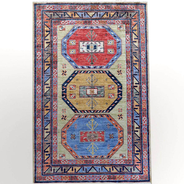 "Shrugs Kazak 4'2""x6' Lime Green Hand Knotted Armenian Design Kazak Super Dense Weave Natural Wool Oriental Rug"
