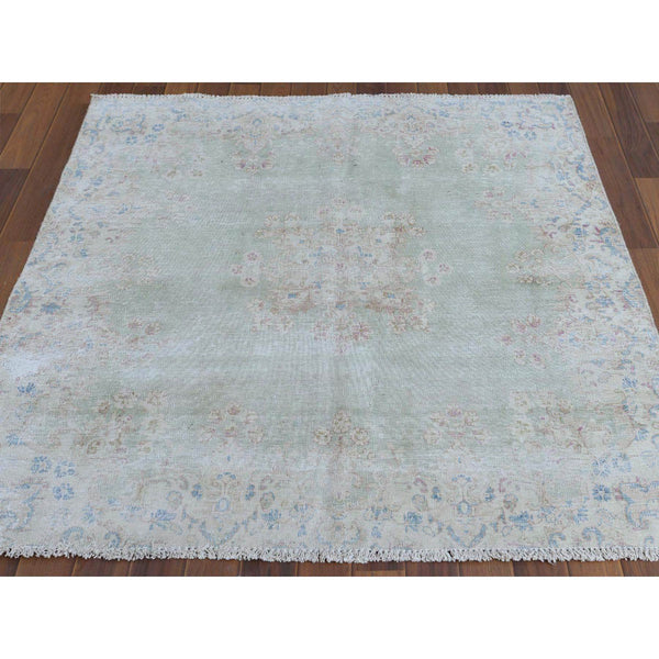"Shrugs Overdyed & Vintage 4'7""x4'9"" White Wash Vintage Light Green Persian Kerman With Flower Design Distressed Hand Knotted Clean Pure Wool Oriental Rug"