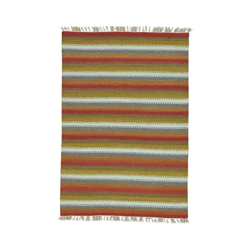 "Shrugs Flat Weave 4'x5'10"" Colorful Striped Durie Kilim Flat Weave Hand Woven Oriental Rug"