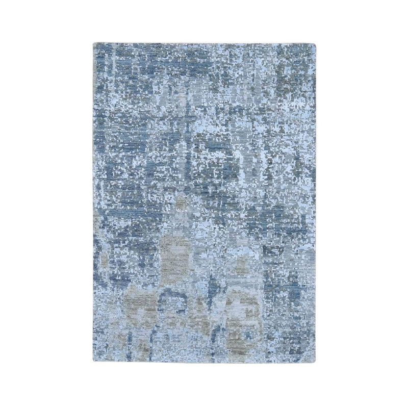 "Shrugs Modern and Contemporary 4'x6'1"" Gray Abstract Design Wool And Silk Hi-Low Pile Denser Weave Hand Knotted Oriental Rug"