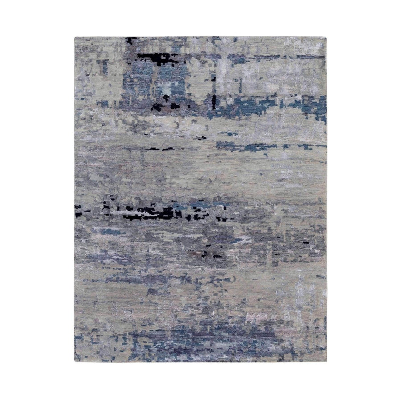 Shrugs Modern and Contemporary 4'x6' Abstract Design Silver- Blue Hand Knotted Wool & Silk Hi-Low Pile Oriental Rug