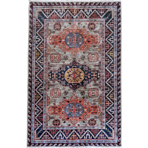Shrugs Kazak 4'x6' Super Dense Weave Gray Armenian Inspired Kazak Gray 100% Wool Hand Knotted Oriental Rug