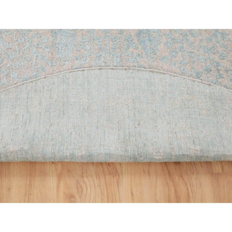 "Shrugs Transitional 5'10""x5'10"" Green Broken Cypress Tree Design Wool and Silk Thick Hand Loomed Round Oriental Rug"