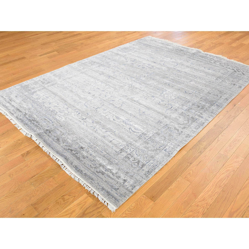 "Shrugs Transitional 5'10""x8'1"" Wool and Silk Agra Broken Design Hand-Knotted Oriental Rug"