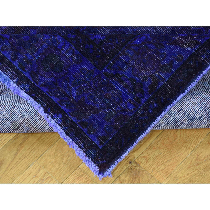"Shrugs Overdyed & Vintage 5'8""x10' Handmade Pure Wool Overdyed Purple Wide Runner Hamadan Rug"