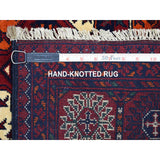 "Shrugs Tribal & Geometric 5'x6'7"" Red Afghan Khamyab Elephant Feet Design Velvety Wool Hand Knotted Oriental Rug"