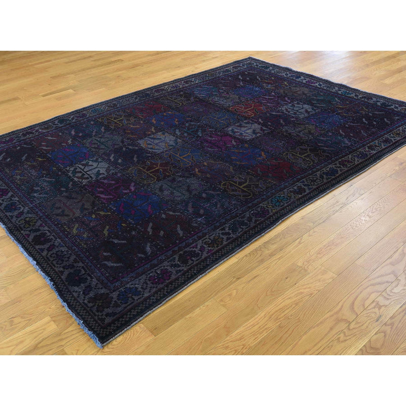 Shrugs Overdyed & Vintage 6'1''x8'10'' Hand Knotted Overdyed Persian Bakhtiari Garden Design Worn Rug